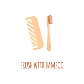 Zero waste eco wooden toothbrush and comb in a flat style with text Brush with bamboo. Natural bamboo cleaning toothbrush and comb, plastic free, vector illustration on white background.