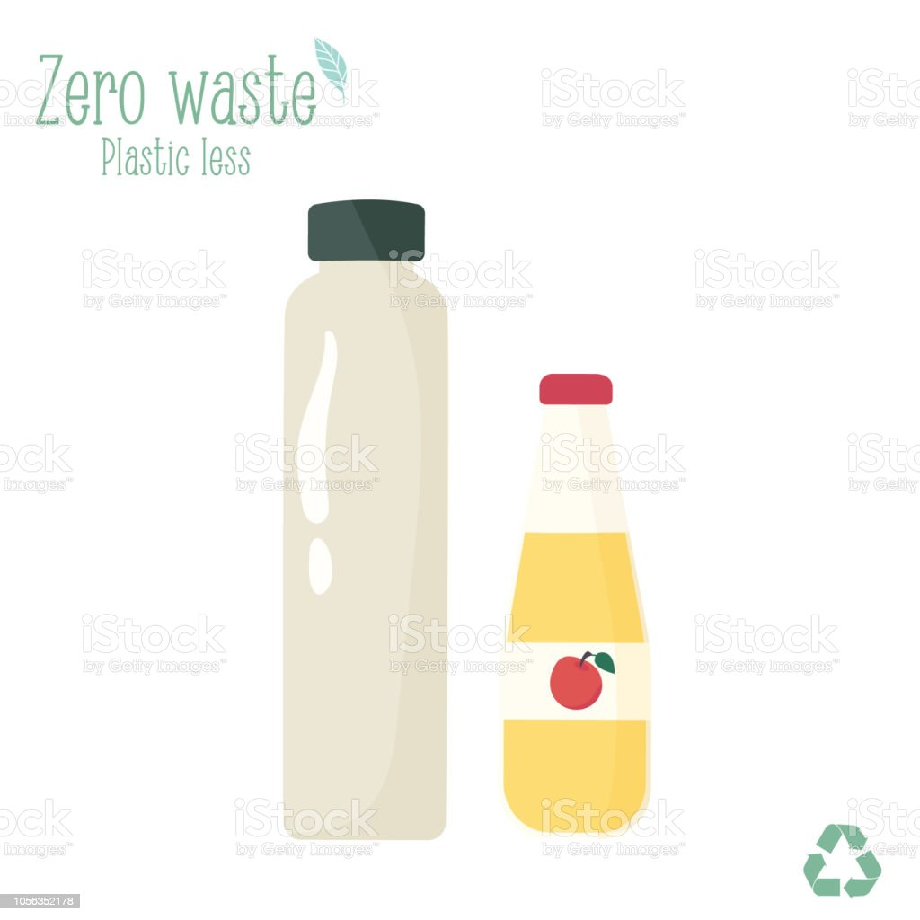 Zero waste glass bottles for water and juice isolated on white background vector art illustration