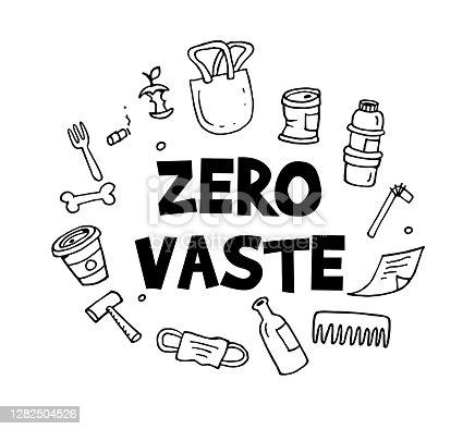 istock Zero waste hand drawn illustration 1282504526