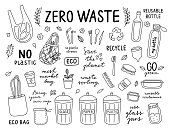 Zero waste hand drawn outline set. Vector ecology lifestyle set on white background. No plastic and recycle elements and icons