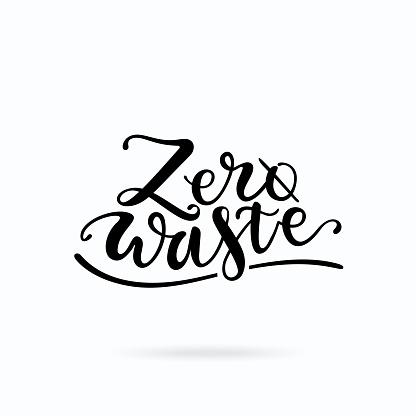 Zero waste handwritten lettering design. Ecology problems motivational phrase vector clip art isolated on white background.