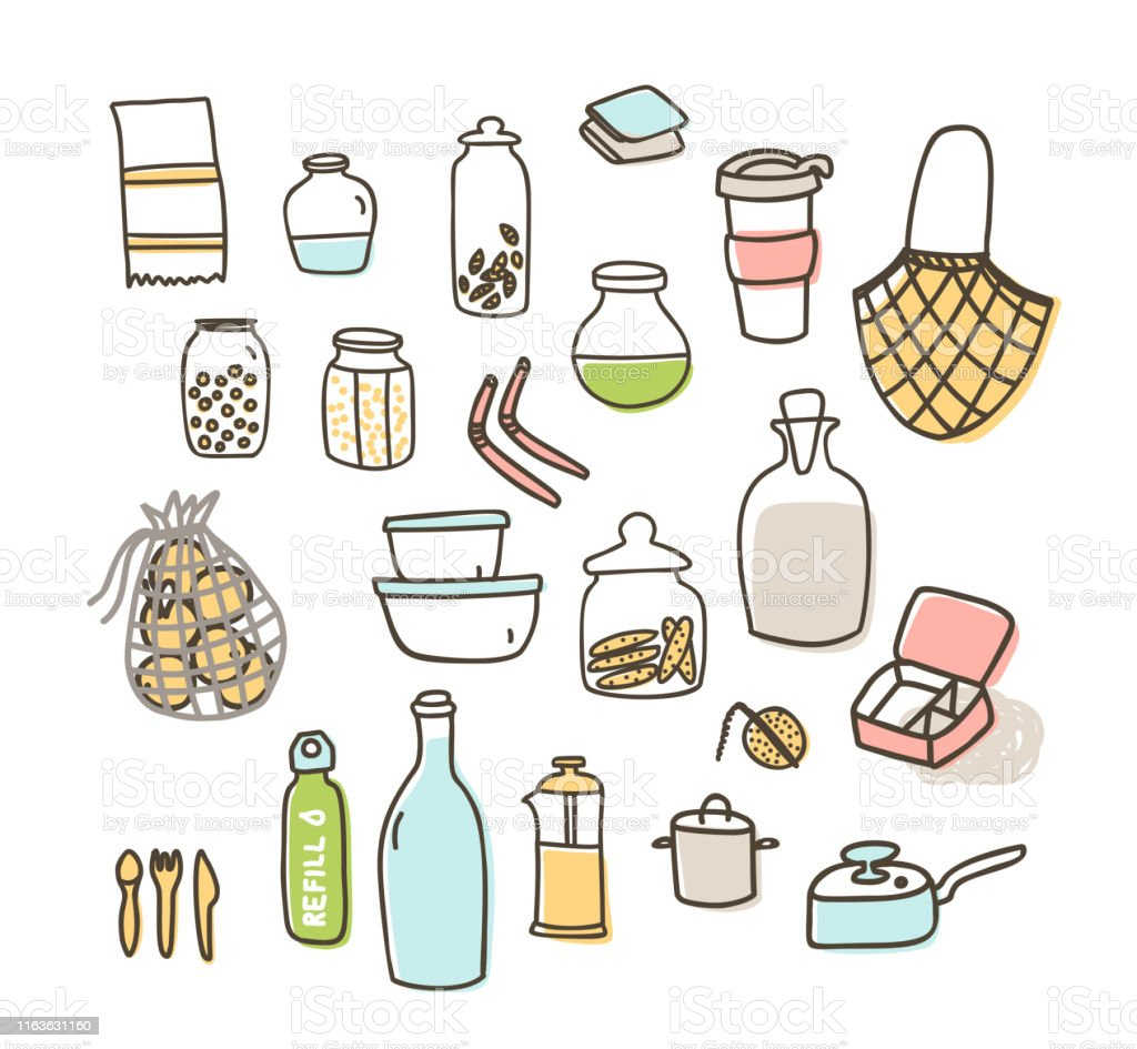 Zero Waste Kitchen Doodle Vector Icons Set Isolated Stock