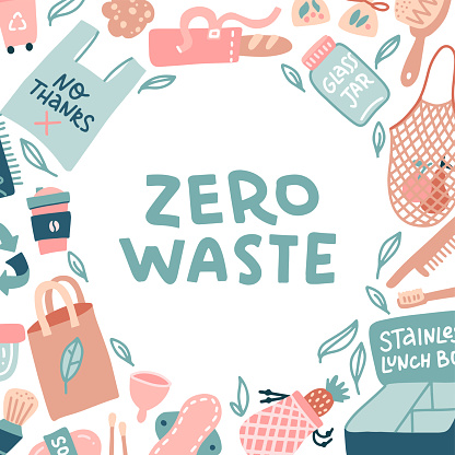 Zero waste lettering in a round frame. Sustainable household items in doodle style. Fame of eco friendly objects around text. Recycle and no plastic bags and bottles, spoon, lunch boxes. Flat vector