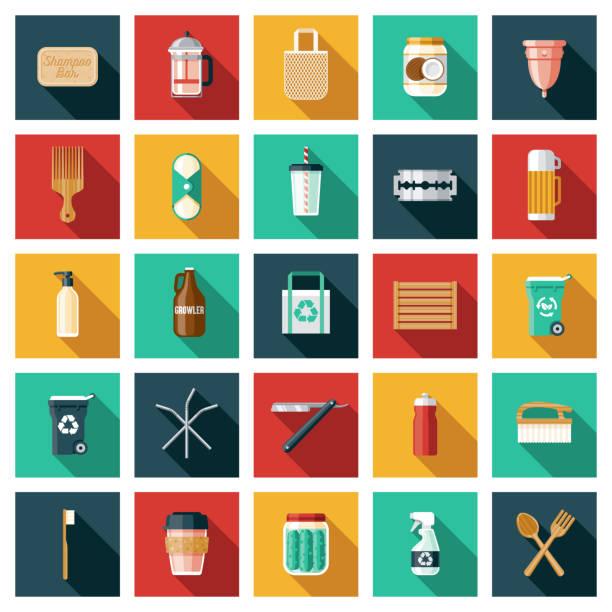 illustrazioni stock, clip art, cartoni animati e icone di tendenza di zero waste lifestyle icon set - composting