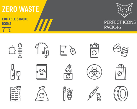 Zero waste line icon set, recycle collection, vector graphics, logo illustrations, zero waste vector icons, environment signs, outline pictograms, editable stroke.