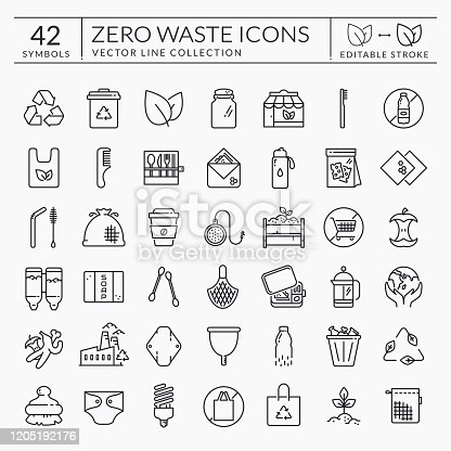 istock Zero waste line icons. Editable stroke. Vector set. 1205192176