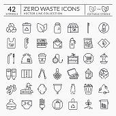 istock Zero waste line icons. Editable stroke. Vector set. 1205192176