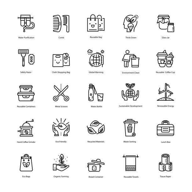 zero waste line icons pack - tap water stock illustrations