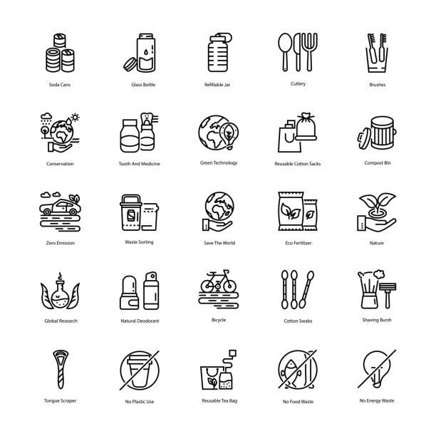 illustrazioni stock, clip art, cartoni animati e icone di tendenza di zero waste line icons set - riutilizzabile