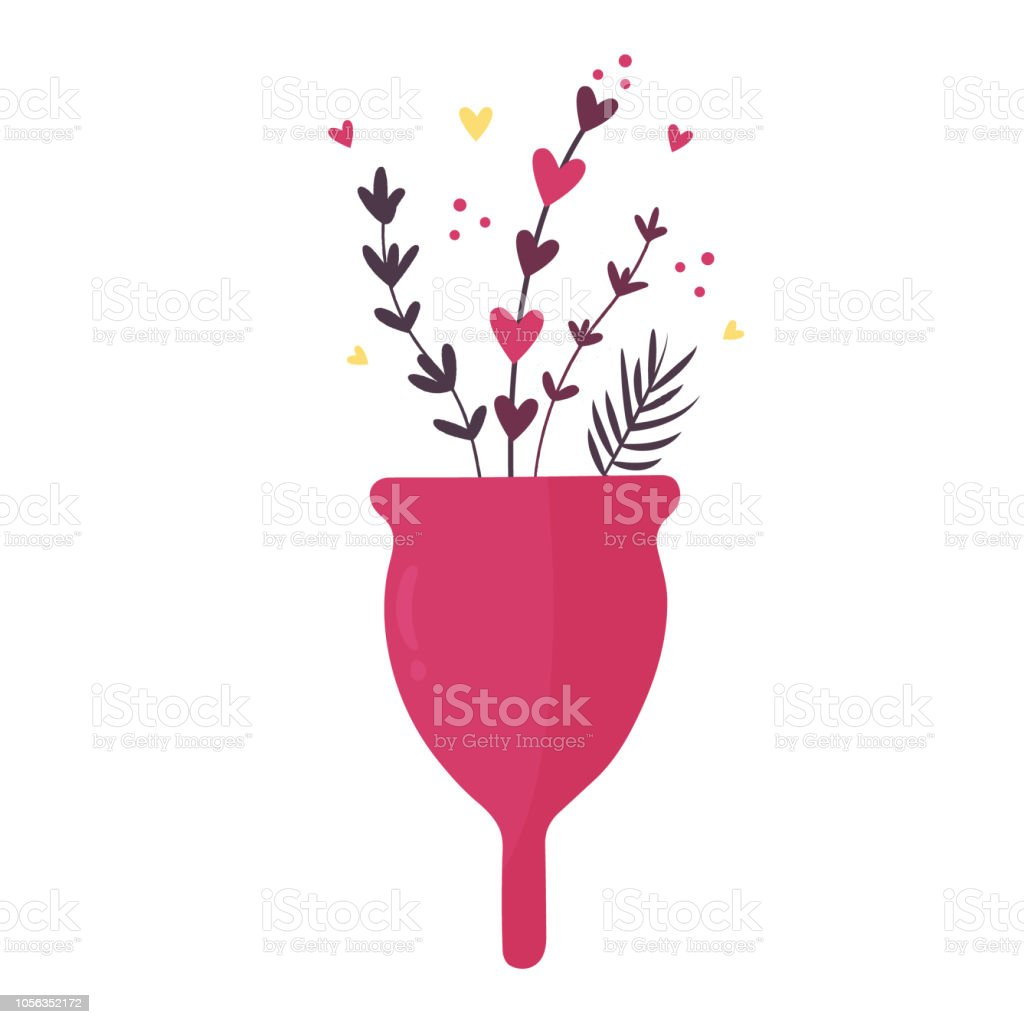 Zero waste menstrual cup with flowers and leaves isolated on white background vector art illustration