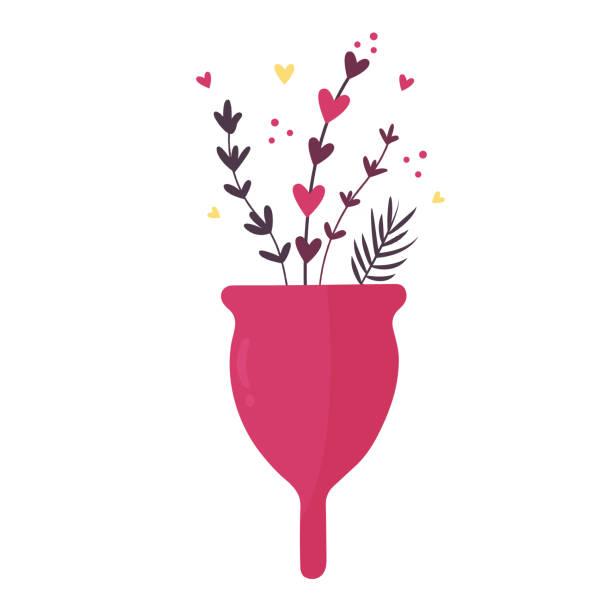 illustrazioni stock, clip art, cartoni animati e icone di tendenza di zero waste menstrual cup with flowers and leaves isolated on white background - coppa mestruale