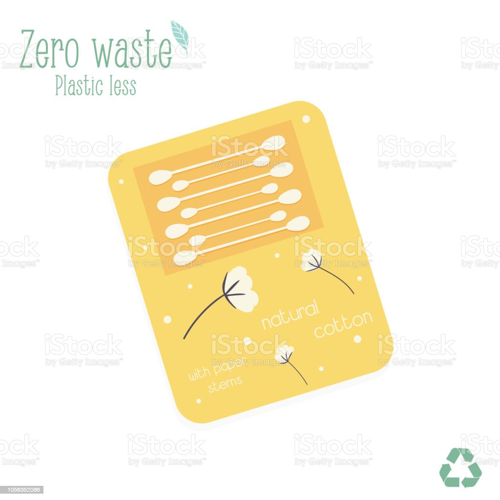 Zero waste packaging with cotton buds. isolated on white background. Trash less concept vector art illustration