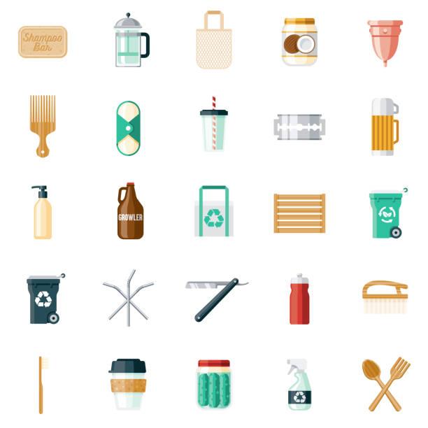 illustrazioni stock, clip art, cartoni animati e icone di tendenza di zero waste products icon set - composting