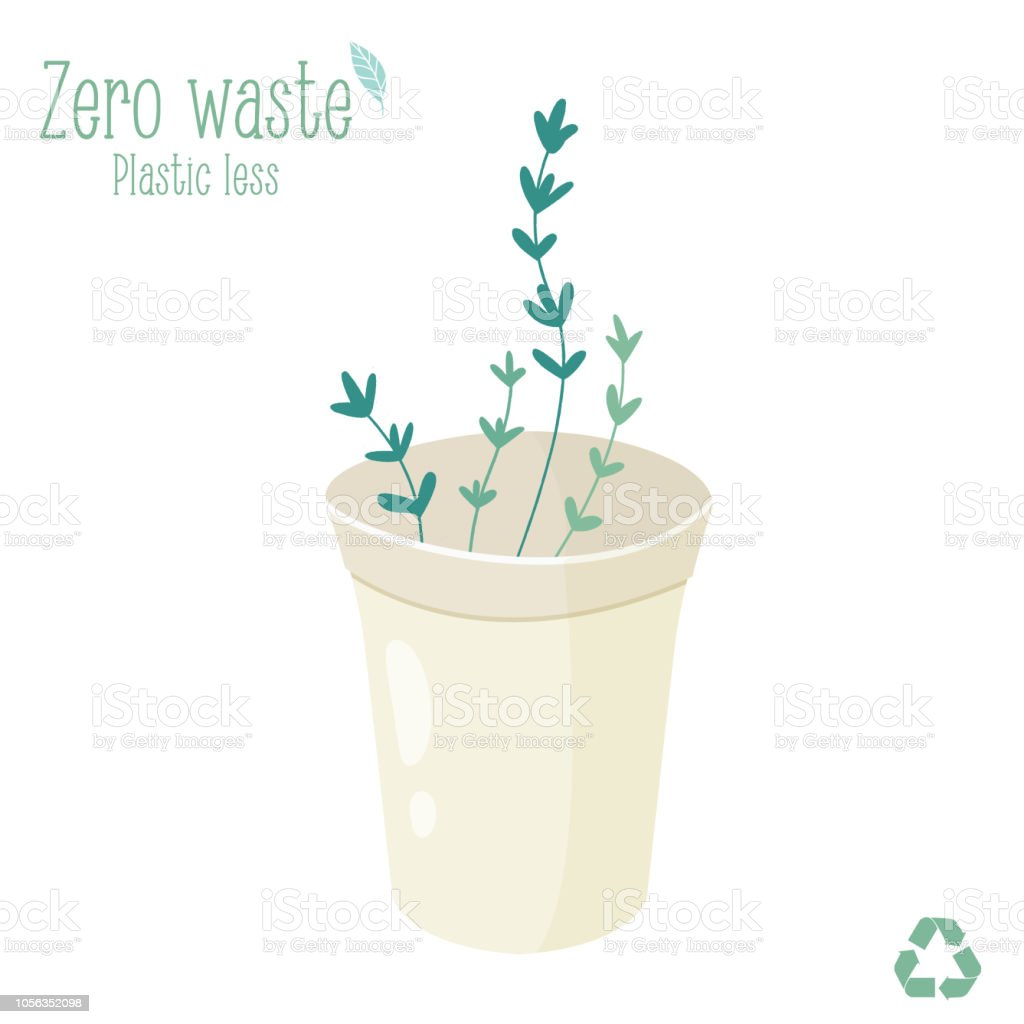 Zero waste reusable trash bin isolated on white background. Trash less concept vector art illustration