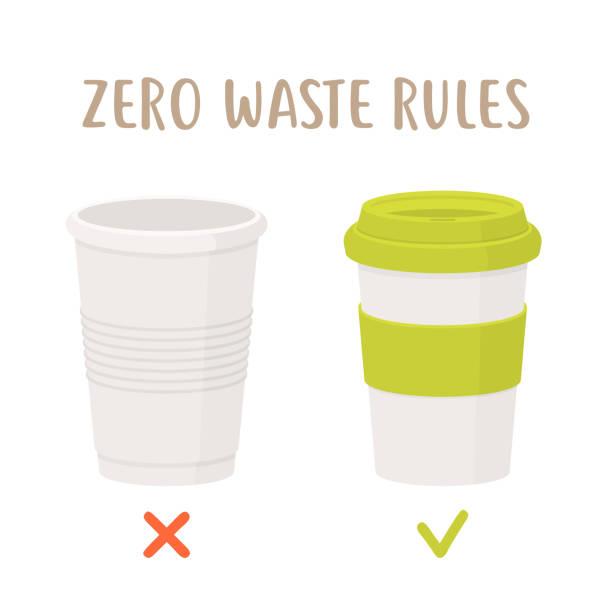 illustrazioni stock, clip art, cartoni animati e icone di tendenza di zero waste rules - disposable cup vs reusable cup - riutilizzabile