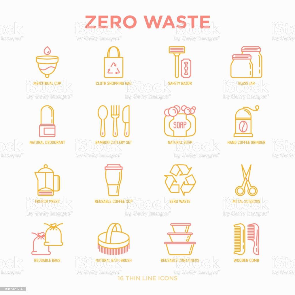 Zero Waste Thin Line Icons Set Menstrual Cup Safety Razor Glass Jar