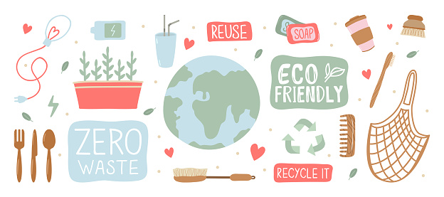 Zero waste web banner, eco tips infographic. Eco friendly. Lifestyle  Save the planet! Earth Day. Hand drawn cute planet Earth and various eco objects. Hand drawn colored vector set. Eco world