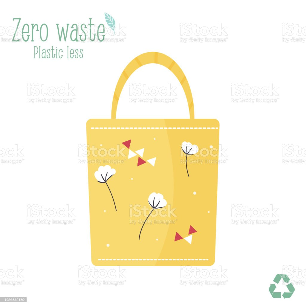 Zero waste wooden canvas bag for eco shopping isolated on white background vector art illustration