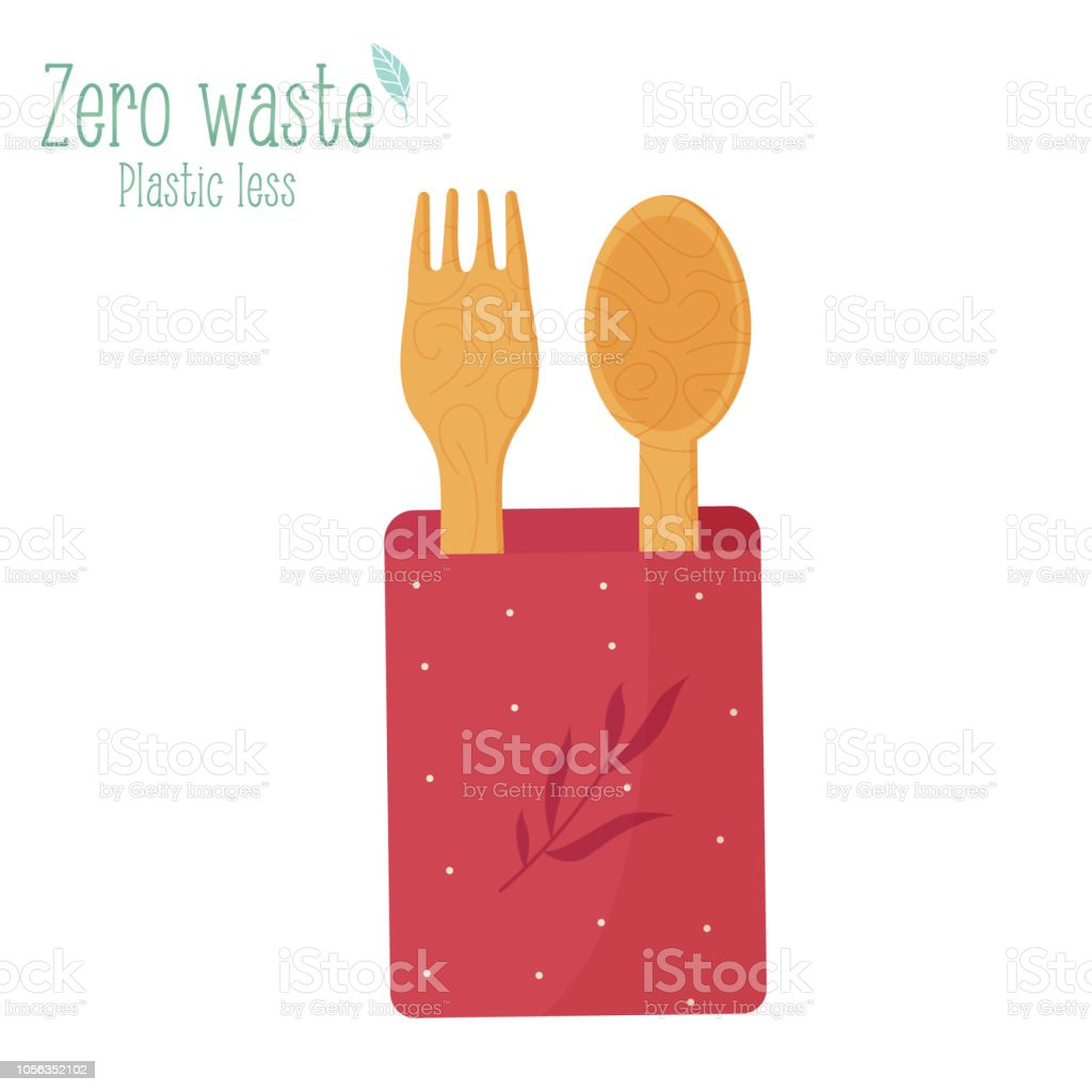 Zero waste wooden cutlery fork and spoon isolated on white background vector art illustration
