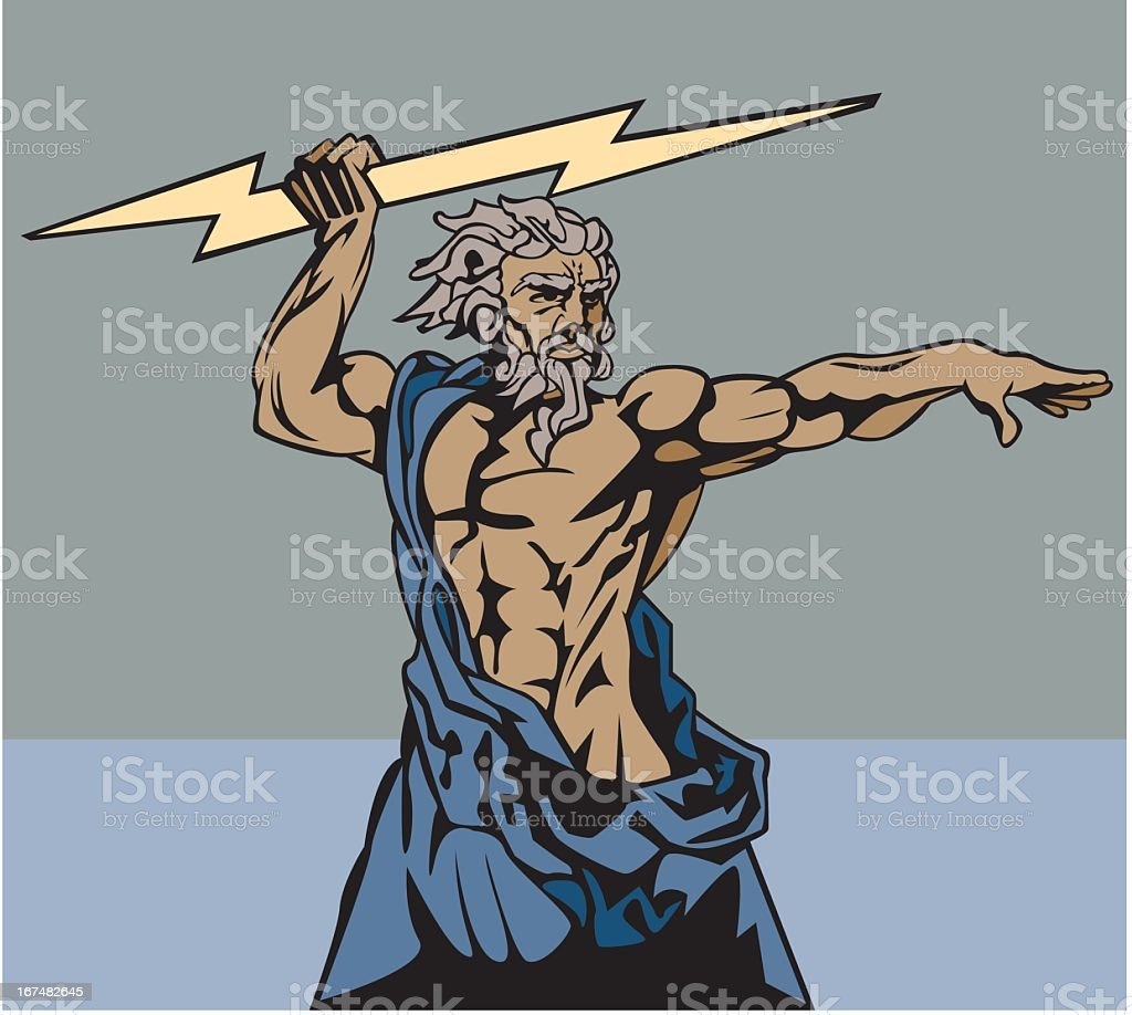 Zeus and Thunderbolt royalty-free stock vector art