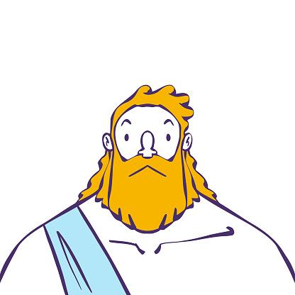 Zeus god cartoon style portrait