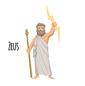Zeus, the Father of Gods and men, ancient Greek god of sky. Mythology. Flat vector illustration. Isolated on white background.
