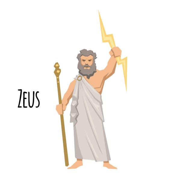 illustrations, cliparts, dessins animés et icônes de zeus, le père des dieux et des hommes, dieu grec du ciel. mythologie. illustration vectorielle plane. isolé sur fond blanc. - modèles de bande dessinée