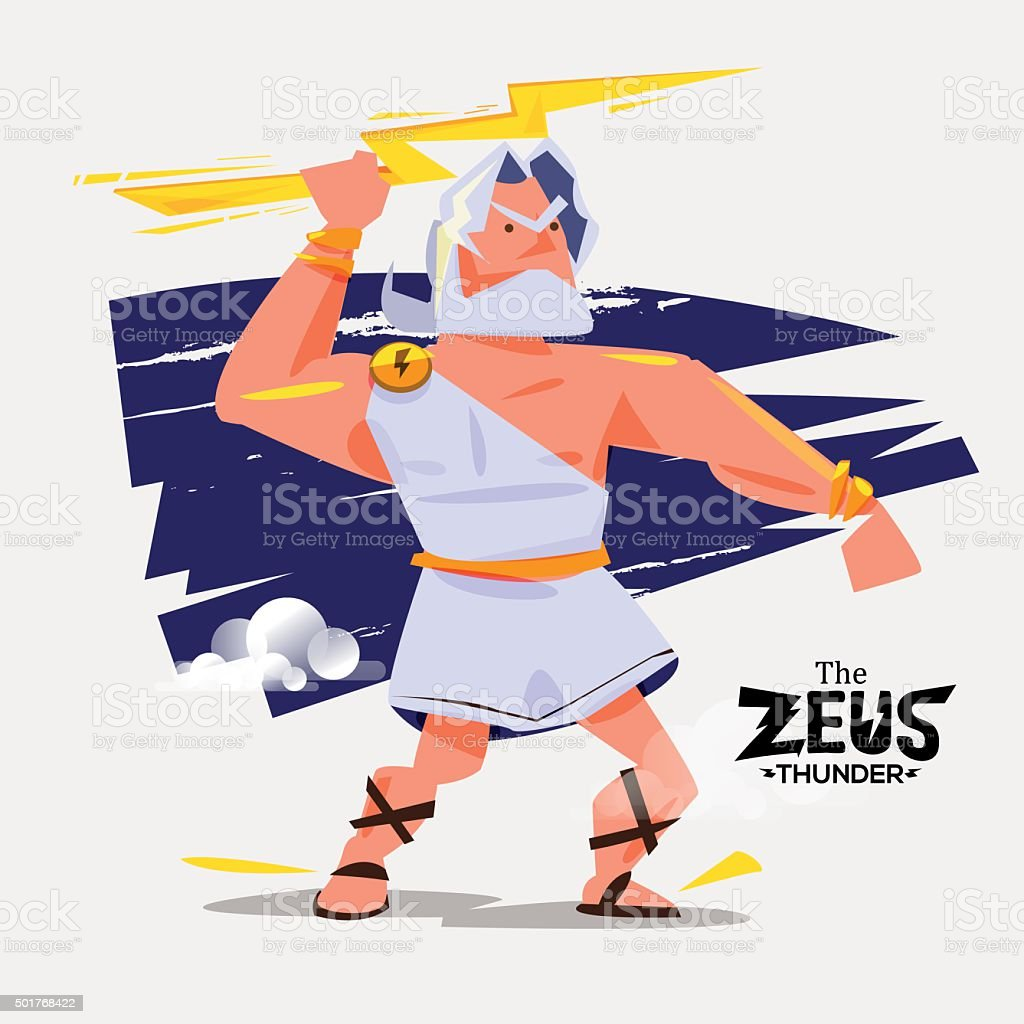 Zeuss in action. zues with thunder bolt in hand