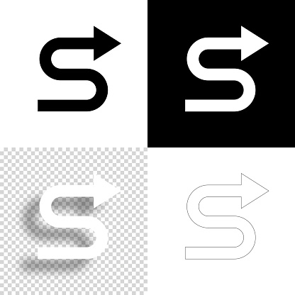 Zig zag direction arrow. Icon for design. Blank, white and black backgrounds - Line icon