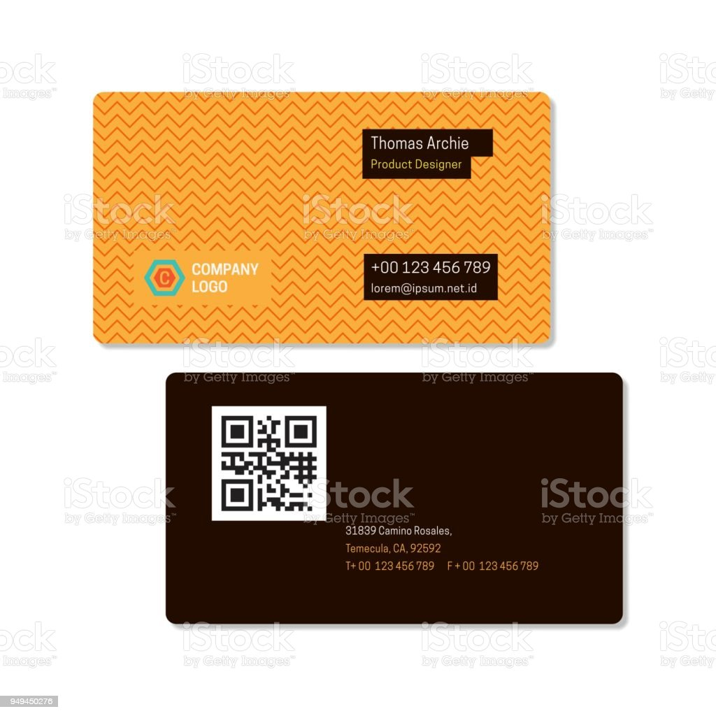 Zig zag yellow pattern name card or business card template with zig zag yellow pattern name card or business card template with barcode or qr code wajeb Image collections