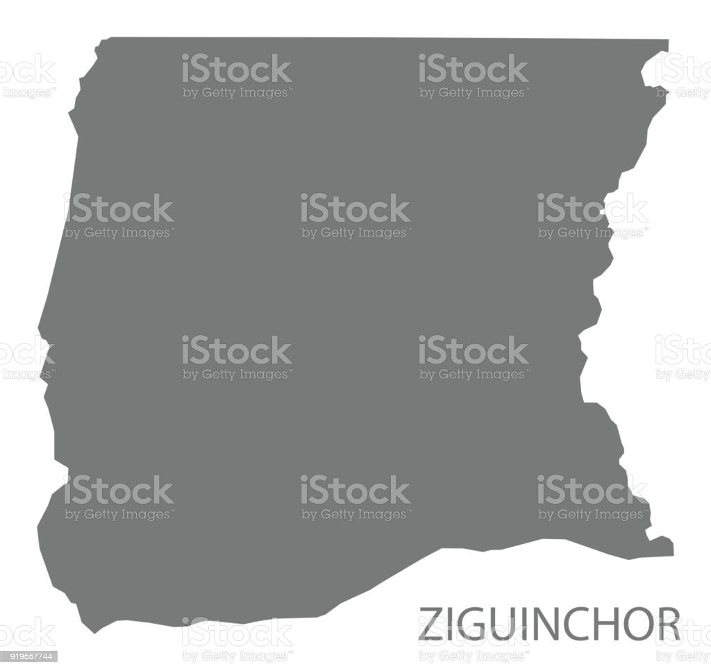 Ziguinchor Map Of Senegal Grey Illustration Silhouette Shape Stock