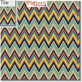 Zigzag and stripe line tile with sample pattern. Vector illustration for tribal design with abstract colors. For textile, wall-paper, wrapping paper. Ethnic themes.