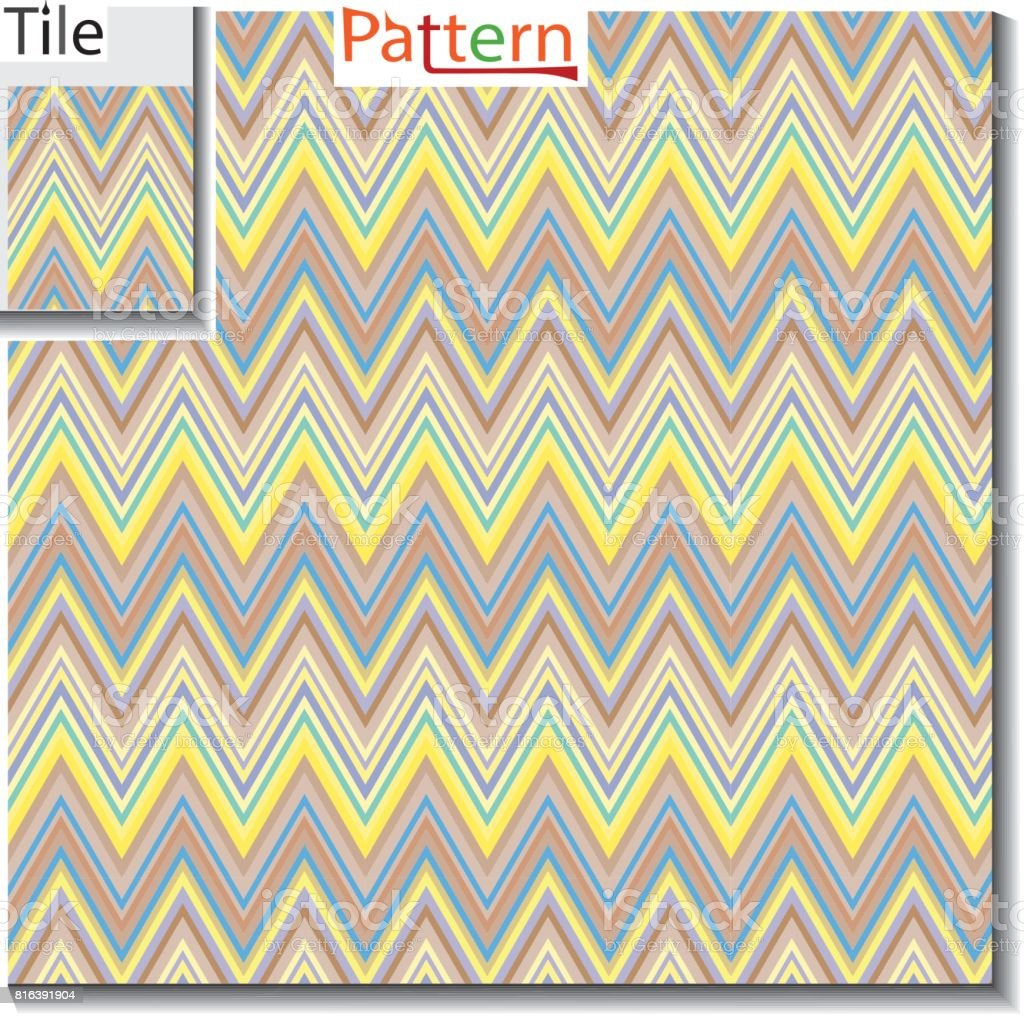 Zigzag And Stripe Line Tile With Sample Pattern Vector Illustration ...