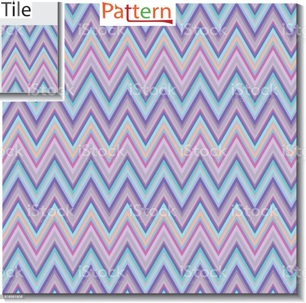 Zigzag And Stripe Line Tile With Sample Pattern Vector Illustration For Tribal Design Abstract
