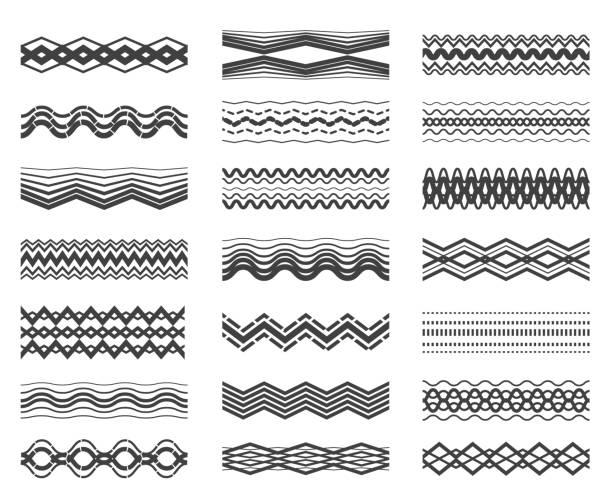 stockillustraties, clipart, cartoons en iconen met zigzag en golvende lijnpatroon instellen - golvend haar
