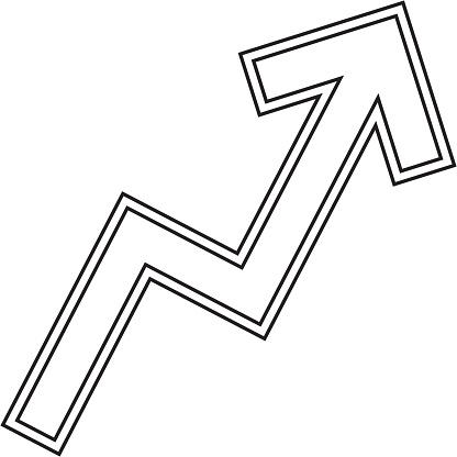 ジグザグ矢印グラフ ベクトル線アイコン - イラスト素材...