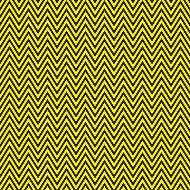 zigzag black and yellow pattern - stripped pattern stock illustrations, clip art, cartoons, & icons