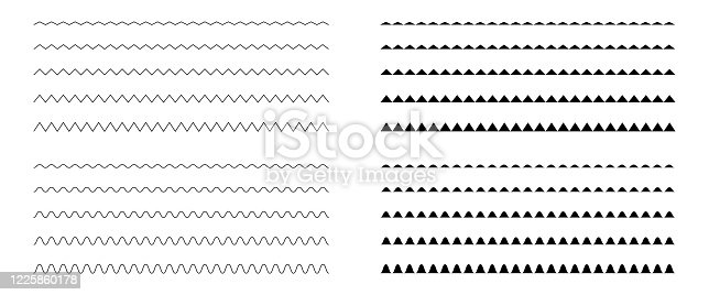 Zigzag classic doodle pattern set. Thin isolated line vector illustration