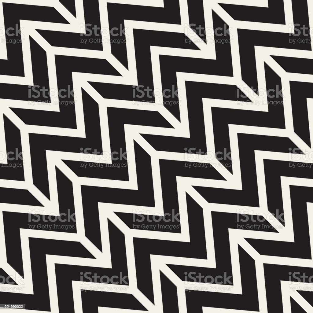ZigZag Edgy Stripes. Vector Seamless Black and White Pattern. vector art illustration