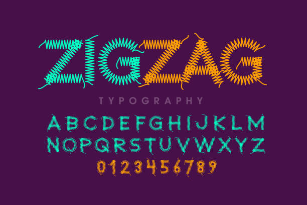 Zigzag font stitched with thread Zigzag font stitched with thread, embroidery font alphabet letters and numbers vector illustration zigzag stock illustrations