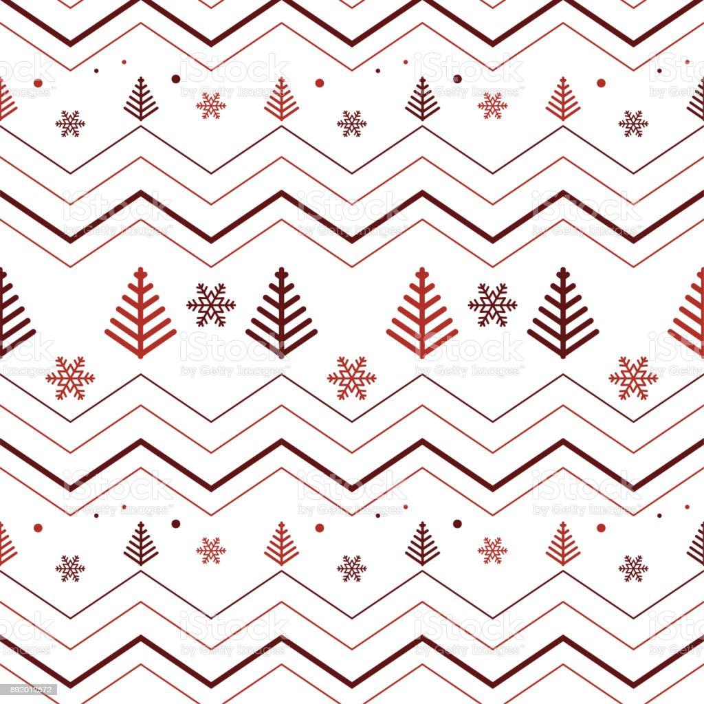 Ilustración de Líneas En Zigzag Con Copo De Nieve Y Pino árbol Los ...