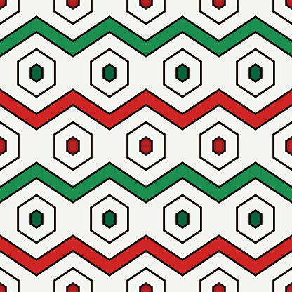 Zigzag seamless pattern. Hexagon mosaic tiles ornament. Ethnic surface print. Repeated geometric figures background