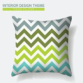 Decorative Cheerful Throw Pillow design template. Original pattern is complete masked. Modern interior design element. Creative Sofa Toss Pillow. Vector design is layered, editable