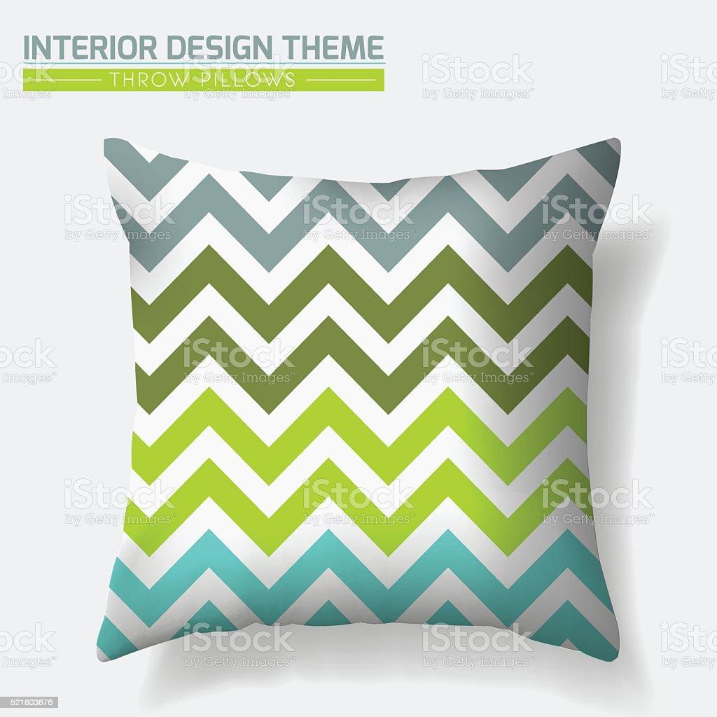 Zigzag Throw Pillow design template vector art illustration