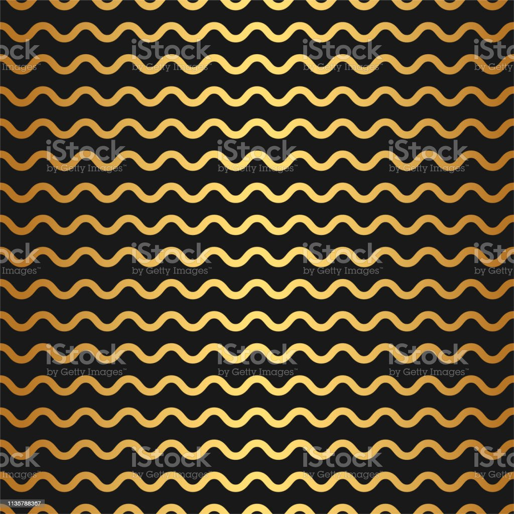 Zigzag Waves Pattern Seamless Black And Gold Abstract