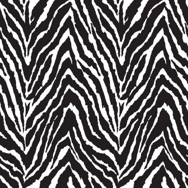 zigzag zebra stripes ~ seamless background - fur texture stock illustrations, clip art, cartoons, & icons