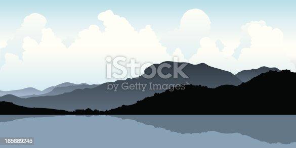Silhouette of the coastal mountains at Zihuatanejo, Mexico.