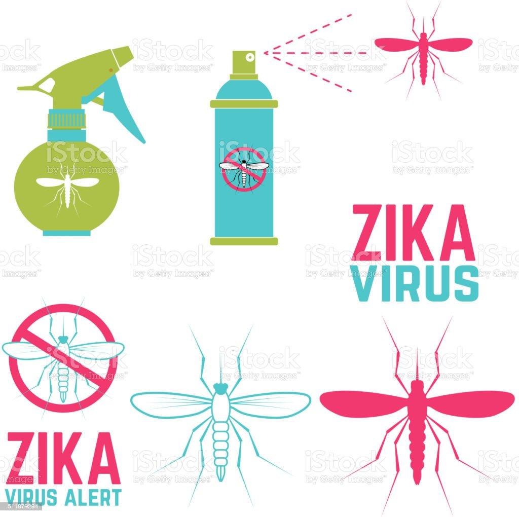 Zika virus alert. Set of design elements vector art illustration