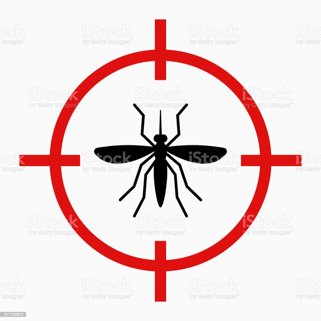 Zika virus alert, target mosquito vector art illustration