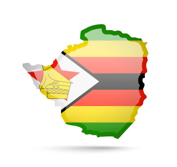 simbabwe flagge und umriss des landes auf weißem hintergrund. - salisbury stock-grafiken, -clipart, -cartoons und -symbole
